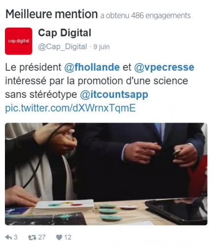 Notre meilleure mention Twitter pour le mois de Juin 2016 nous vient de Cap Digital !