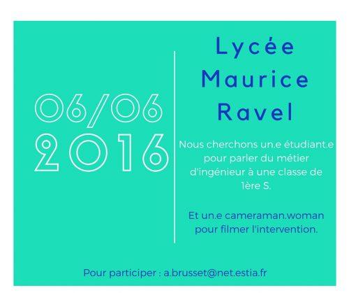 Visite du lycée Maurice Ravel en Juin 2016 par l'ESTIA, pour l'égalité.
